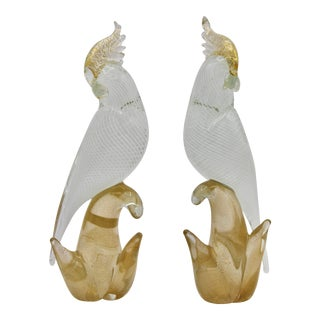 Mid Century Italian Murano Gold and White Glass Cockatoo Parrots by Seguso - a Pair For Sale
