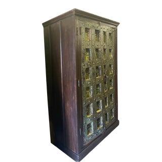Antique Spanish Rustic Green Kitchen Storage Cabinet For Sale