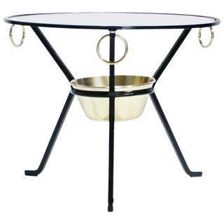 Jacques Adnet Side Table Gueridon Iron and Brass, 1950s For Sale