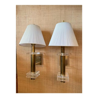 1970's Brass and Lucite Sconces with Silk Shades - a Pair For Sale