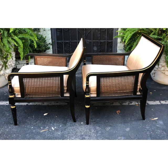 Hollywood Recency Black & Gold Cane Arm Low Club Chairs - a Pair For Sale In Los Angeles - Image 6 of 7