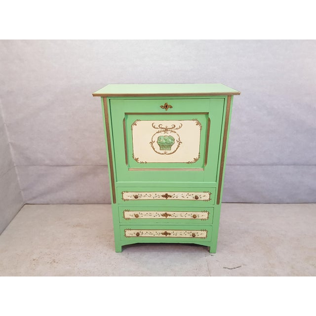 French Antique Early 1920s Handpainted Gilted Imperial Style Charming Secretaire Credenza. A very unique piece with...