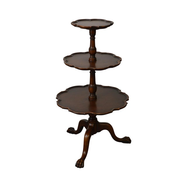 Vintage Mahogany Chippendale Style Claw Foot 3 Tier Dumbwaiter Table For Sale - Image 11 of 11