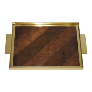 Vintage Gucci Style Tray Burlwood and Brass For Sale