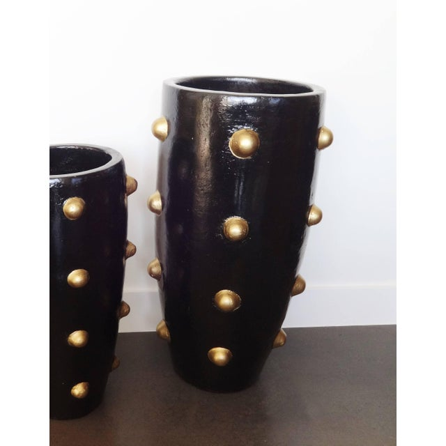 Unique Pair of Black and Gold Sculpture Planters For Sale In Dallas - Image 6 of 8