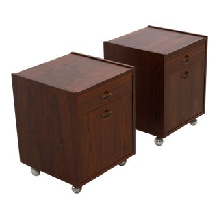 Danish Rosewood End Tables / Nightstands on Wheels - a Pair