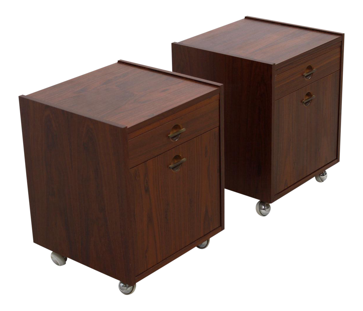 Danish Rosewood End Tables / Nightstands On Wheels   A Pair