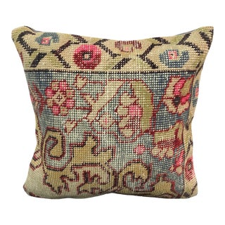 Vintage Faded Turkish Anatolian Floral Rug Pillow For Sale