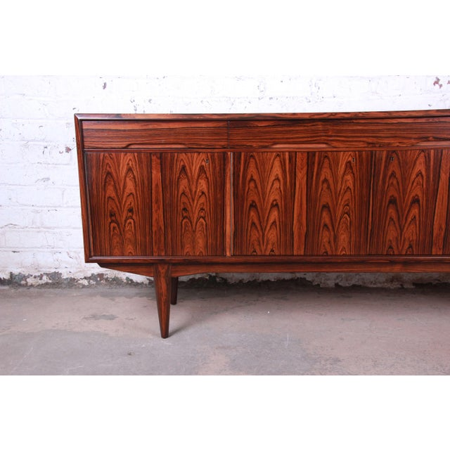 Danish Modern Rosewood Sideboard Credenza, Newly Refinished For Sale - Image 4 of 12