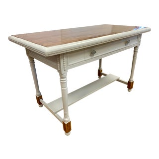 1970s French Country Mahogany and Painted Gray Writing Desk For Sale