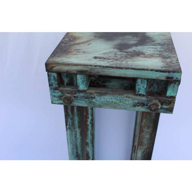 Mid-Century Modern Art Deco Mid-Century Design Antiqued Green Finish Steel Pedestal For Sale - Image 3 of 9