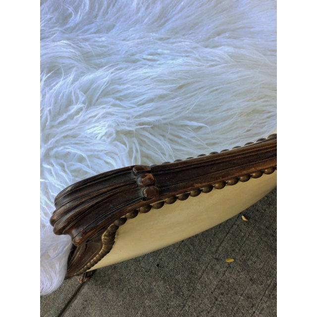 Vintage Leather & Faux Fur Club Chair For Sale - Image 9 of 10