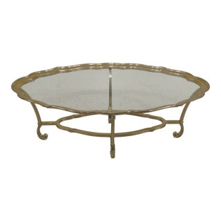 1990s Traditional Labarge Brass & Glass Coffee Cocktail Table For Sale