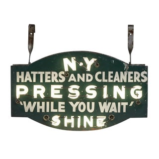 Double-sided Ny Hatters & Cleaners Neon Sigh W/ Enamel Faceplates Circa 1930s