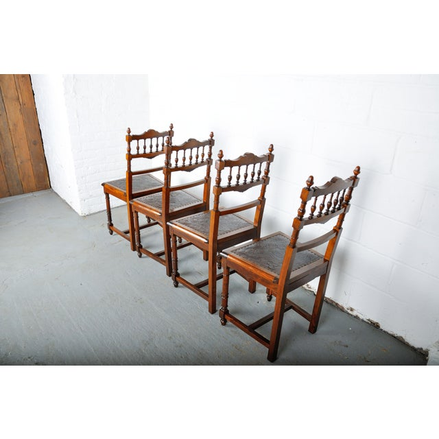 Antique Set of 4 French Henri II Oak Dining Chairs For Sale - Image 11 of 13