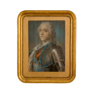 Mid 18th Century Pastel Portrait Painting of Louis XV For Sale