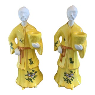 Tiffany & Co Chinoiserie Men Candle Holders a Pair For Sale