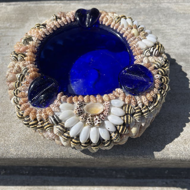 Large Shell Encrusted Ashtray Blue Glass For Sale - Image 10 of 10