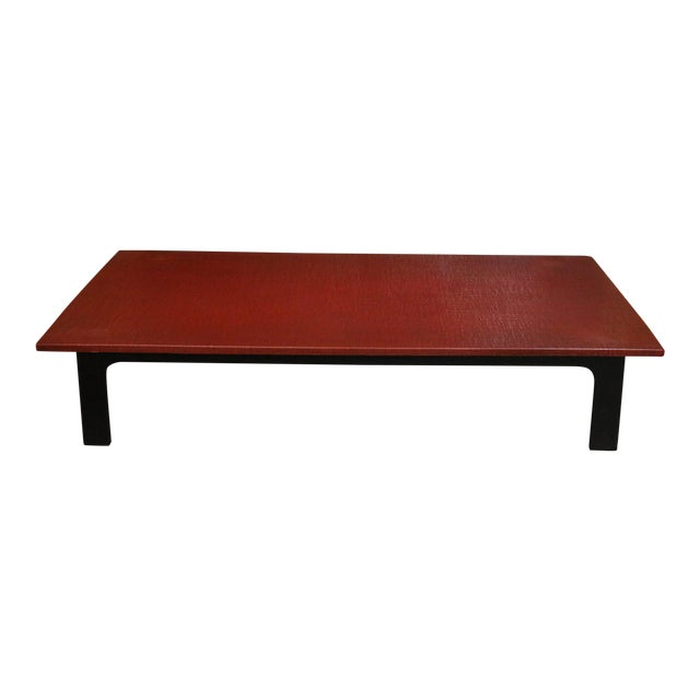1940s Japanese Red Lacquer Coffee Table For Sale