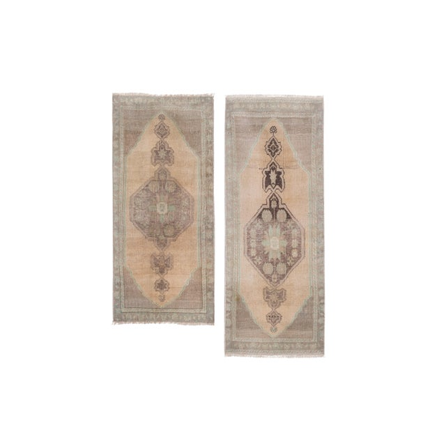 """Distressed Small Turkish Oushak Rug - a Pair 19"""" X 42"""" For Sale - Image 10 of 10"""