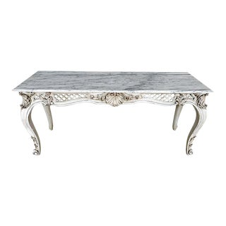 French Neoclassical Grey Painted Marble-Top Console Table For Sale