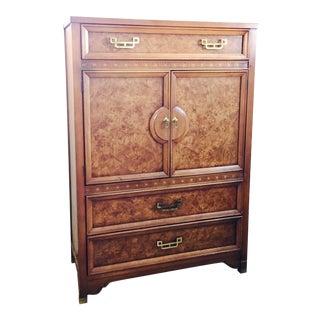 Henry Link Mandarin Faux Burl Wood Bar Cabinet For Sale