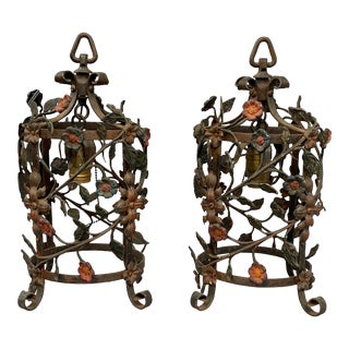 Italian Wrought Iron Hall Lanterns - a Pair For Sale