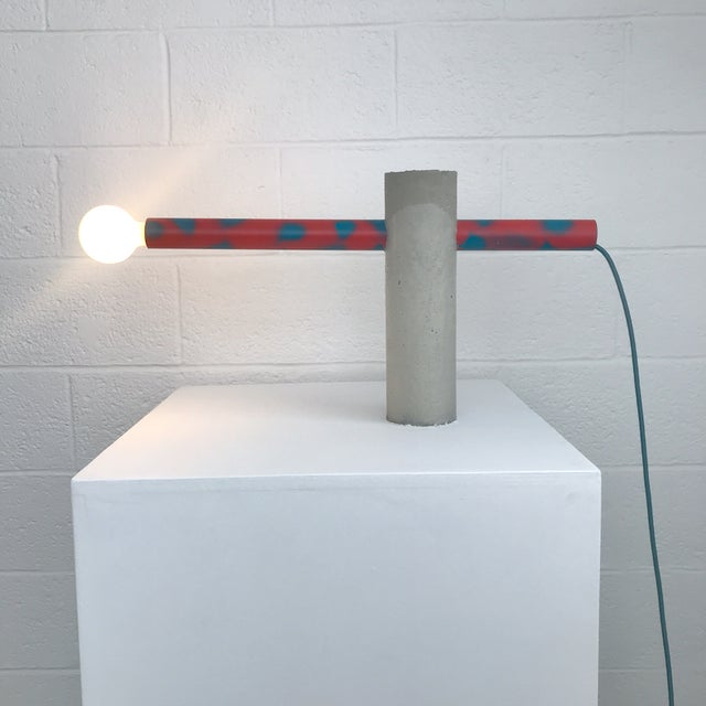Abstract Red Spotted Tube Sculptural Concrete Light by Nicholas Tilma For Sale - Image 3 of 3