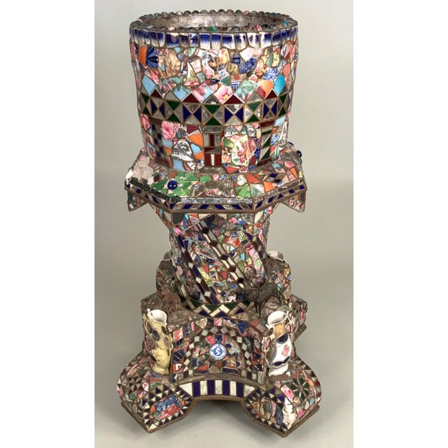 A wonderful and unique antique 1920s 'Memory' plant stand covered entirely in an elaborate mosaic of broken china and...