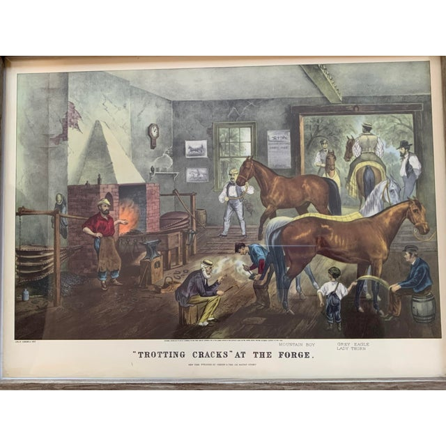 Original Print. Trorting Gracks at the Forge NEW YORK PUBLISHED BY Currier & Ives 152 NASSAU STREET Year. 1869 Condition....
