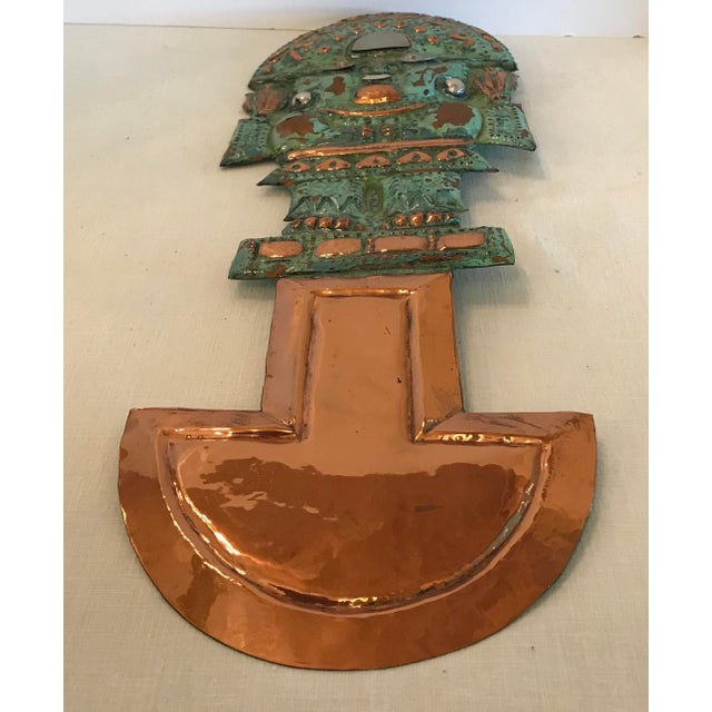 Vintage Copper Aztec God Wall Hanging For Sale In Dallas - Image 6 of 9