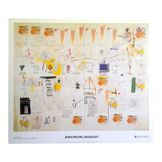 "Jean Michel Basquiat Original Abstract Offset Lithograph Print Poster "" Icarus Esso "" 1986 For Sale"