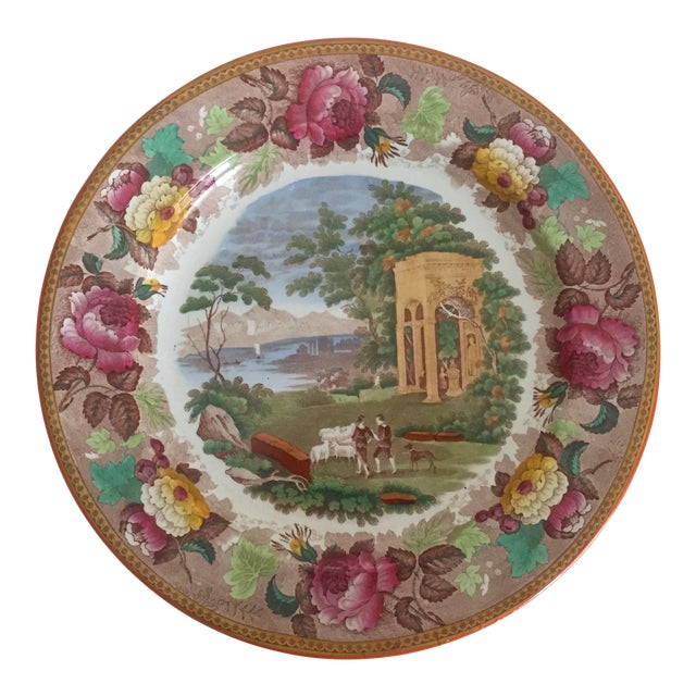 Antique Wedgwood Transferware Neoclassical Floral Ceramic Plate For Sale
