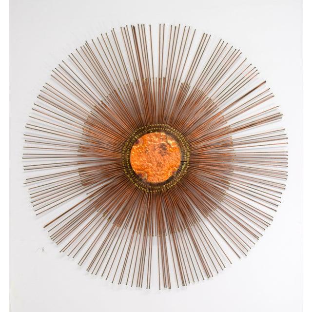 Copper Curtis Jere Copper Rod Sunburst Wall Sculpture For Sale - Image 8 of 8