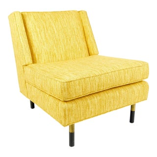 Dunbar Style Mid Century Modern Yellow Slipper Chair For Sale