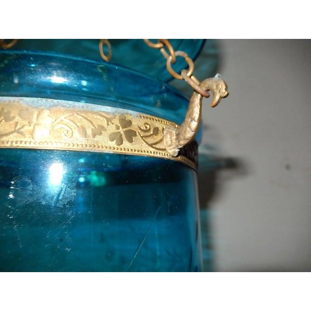Late 19th Century English Cobalt Blue Bell Jar Lantern Chandelier For Sale - Image 5 of 13