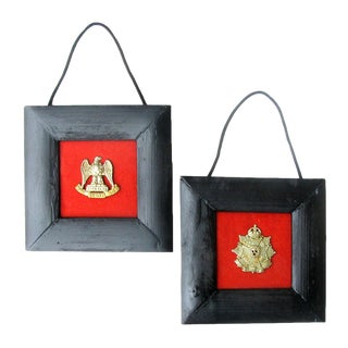 English & Scottish Regimental Badges W/ Frames, Pair For Sale