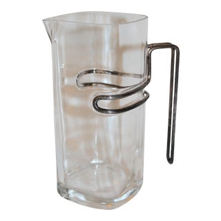 Late 20th Century Luigi Bormioli Glass Pitcher with Silverplate Handle For Sale