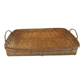 Vintage Hand Woven Rectangular Handled Basket For Sale