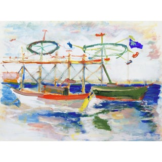 'Boats Off the Boardwalk, Santa Cruz' by Robert Canete, California Expressionist For Sale
