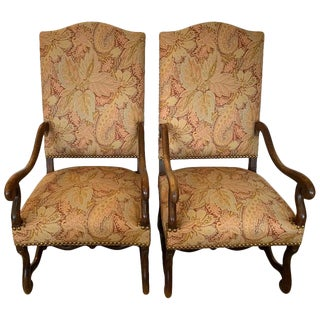 Mid 19th Century High Back Walnut and Upholstered Armchairs - a Pair For Sale
