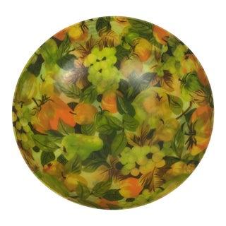 Mid-Century Fruit Pattern Fiberglass Salad Bowl For Sale