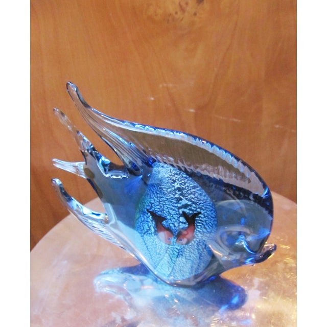 1960s Murano Glass Italian Art Glass Blue and Red Figural Fish Sculpture Object For Sale - Image 9 of 11