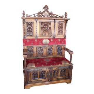 Antique Red & Gold Medallion Upholstered Gothic Hall Bench For Sale