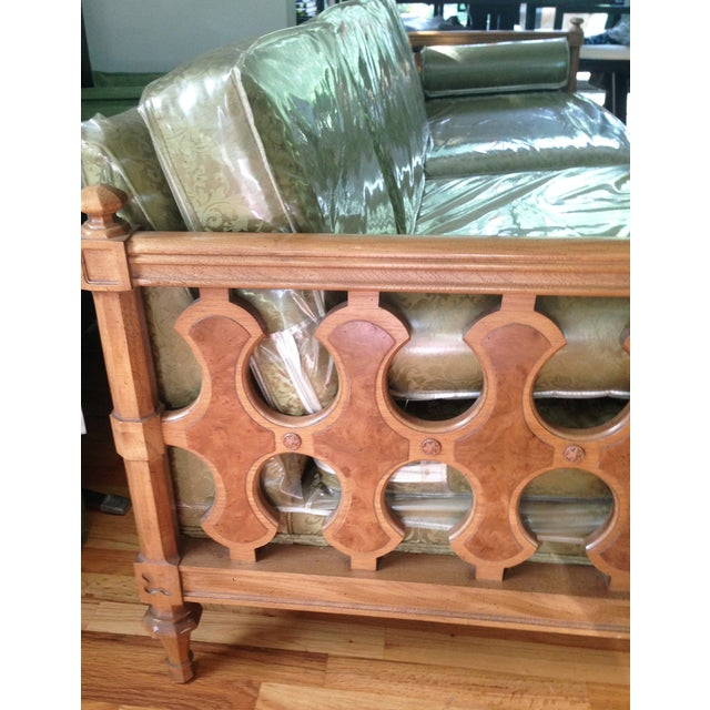 American of Martinsville Burl Panel Arm Sofa - Image 5 of 10