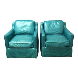 Contemporary Custom Turquoise Leather Swival Arm Chairs - a Pair