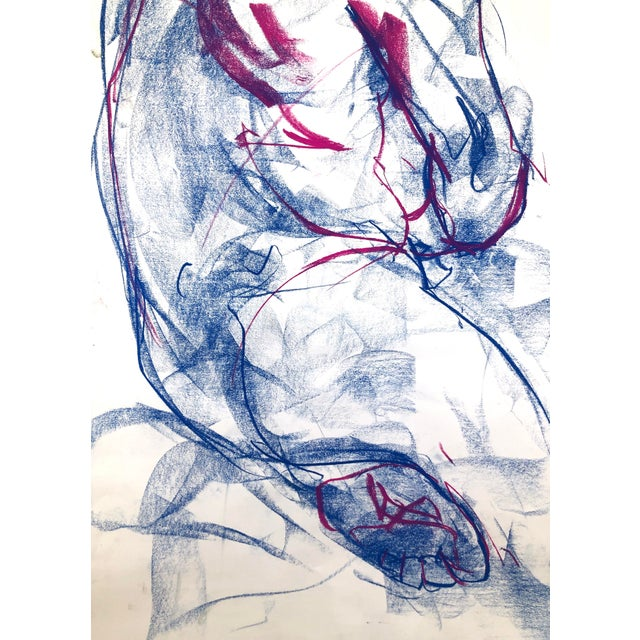 """Paper Contemporary Figure Drawing in Blue and Violet Pastel, """"Seated Figure in Blue and Violet"""" by Artist David O. Smith For Sale - Image 7 of 12"""