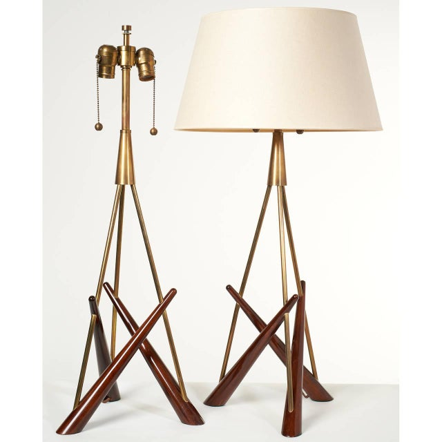 Constructivist' pair of tripod walnut and brass table lamps. Reminiscent of the work from Aleksander Mikhailovich...