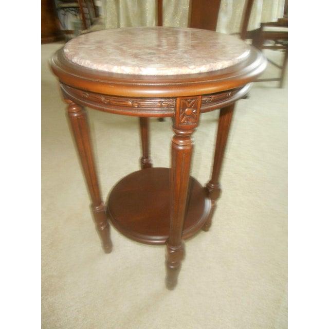 Vintage Rose Marble Top Pedestal Table - Image 4 of 5