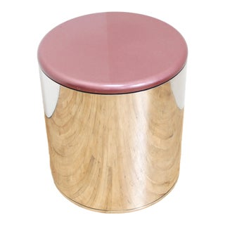 Enamel and Chrome Drum Side Table - Stool For Sale
